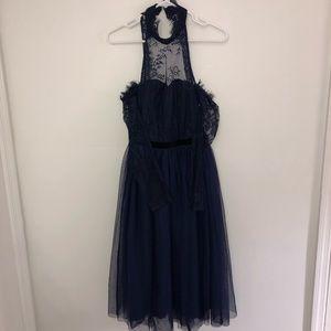 ASOS Lace Off the Shoulder Poof Halter DressFormal